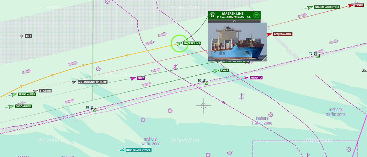 View vessel maneuvers on sea charts including surrounding traffic.