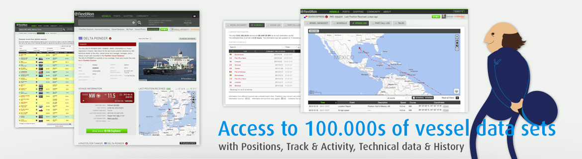Access to 100.000s of vessel data sets.